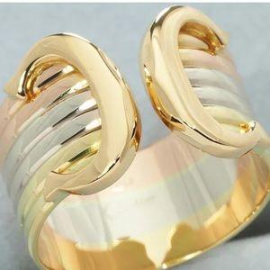 Auth Cartier 18KT Tri-color Gold 2C Double C Ring